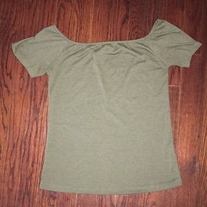 Green tobi off the shoulder shirt